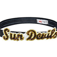 NCAA Arizona State Sun Devils The Grace Collection Sequins and Beads Elastic Hairband, 9.5 x 2.5 x .13-Inch, Black