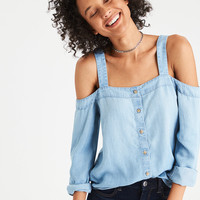 AE Washed Denim Cold Shoulder Tencel Top , Light Wash