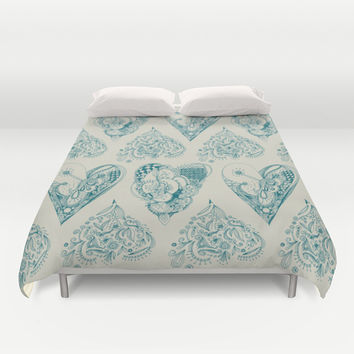 Blue and beige zentangle heart pattern Duvet Cover by /CAM