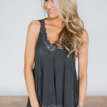 Cherished Moment Lace Tank - Charcoal