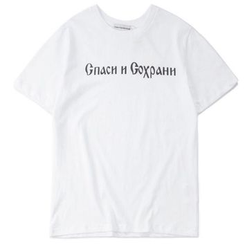 ONETOW Gosha Rubchinskiy      Russian alphabet male and female lovers loose loose-sleeved T-shirts