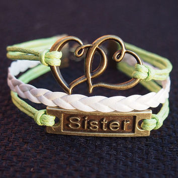Sister bracelet, heart to heart charm leather bracelet, Bronze Color, Green & White wax cord Braid Bracelet Personalized Jewelry for Her