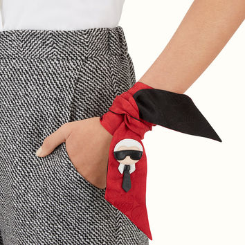 Black and red silk bandeau - KARLITO WRAPPY | Fendi | Fendi Online Store