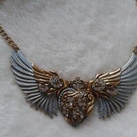 Light blue  Angel wings heart goldtone  statement  necklace