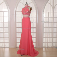 Coral Bridesmaid Dress Handmade beading/Crystal Rhinestone Chiffon Prom Dress Long Prom Dress Party Dress Mermaid Formal Evening Dress