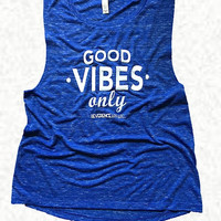 Good Vibes Only Sleeveless Yoga Tee