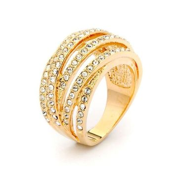Gold Five Row Crystal Ring