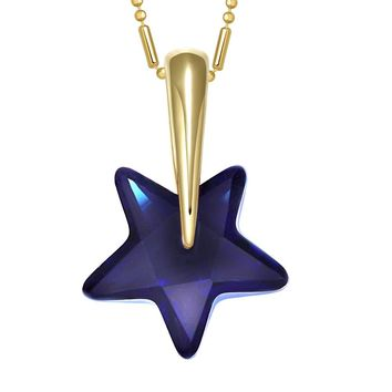 Small Cute Super Star Magical Powers Amulet Gold-Tone Ocean Blue Crystal Charm 18 Inch Necklace