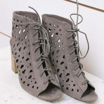 Stone Cutout Lace Up Booties