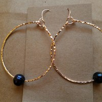 Gold Plated Hoop Earring with Fresh Water Black Pearl