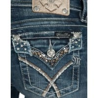 Miss Me Women's Medium Wash Crossed Sequin Flap Button Pocket Signature Bootcut Jean
