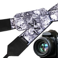 Sugar skulls camera strap with pocket. Skulls. Roses. Carps. Black and white. Grey. DSLR camera strap. Teens gift. Personalized camera strap