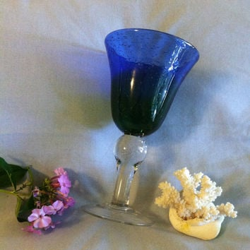 Cobalt Blue and Green Toasting Goblet Hand Blown Ombre Art Glass With Clear Stem and Bullicante Bubbles Flared Champagne Cup Display Vase