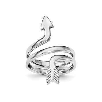Rhodium Plated Sterling Silver Arrow Wrap Toe Ring