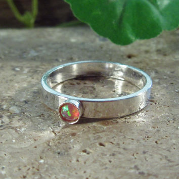 Stacking Ring Sterling Silver Plain 3mm with 3mm Peach Fire Opal