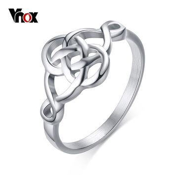 Vnox Ouroboros Rings for Women Vintage Hollow Stainless Steel Self-devourer Female Femme Jewelry US Size 7 8 9