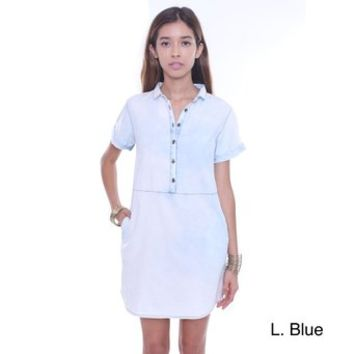 Junior's Light Blue ID3979-ICE Button Up Chambray Tunic Dress