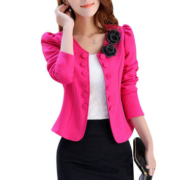 Fashion Double Breasted Women Blazers and Jackets Plus Size 3XL Slim Elegant Long Sleeve Blazer Women Short Pink Blazer Feminino