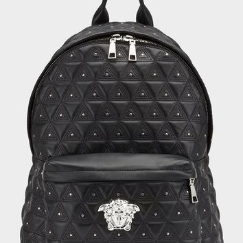 Triangle Studded Medusa Backpack by Versace