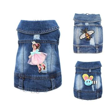 Trendy 2017 Embroidered Design Denim Clothes for Dogs Cute Cowboy Shirt Pet Vest Puppy Chihuahua Cat Cool Jacket Dog Clothing 10A AT_94_13