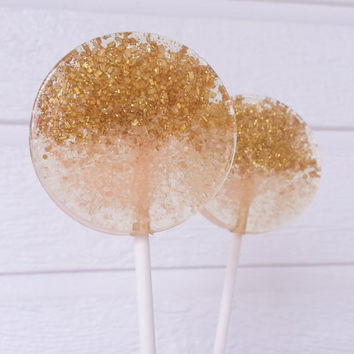 Light Coral and Gold Ombre Lollipops, Hard Candy Lollipops, Candy Lollipop, Wedding Lollipops, Sweet Caroline Confections, -Set of Six