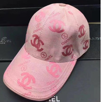 CHANEL  high quality Adjustable Woven net cap hat pink