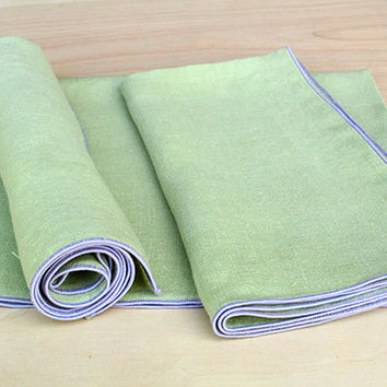 "Light Green Linen Napkins, Lavender Dinner Napkins, Cloth Napkins , Custom Napkins, Event Napkins, Lavender Wedding, Set of 4, 20"" sq."