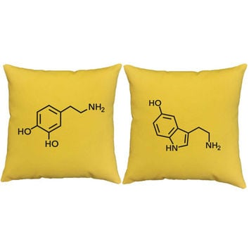 Set of 2 Dopamine and Serotonin Pillows - Neurotransmitter Print Pillow Covers and or Cushion Inserts - Science Print, Dopamine Print, Happy