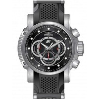 Invicta 19317 Men's S1 Rally Carbon Fiber Black Dial Steel & Silicone Strap Chrono Watch