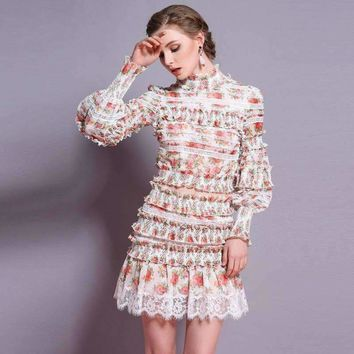 and  2 piece set women openwork lace stitching printing crop top and skirt settwo piece set