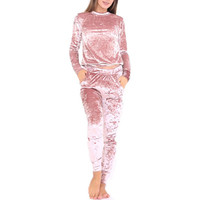 Vogue Women Crushed Velvet Lounge Suit Sweatshirt Pant Lounge Wear Tracksuit New