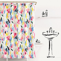 paintball floral shower curtain