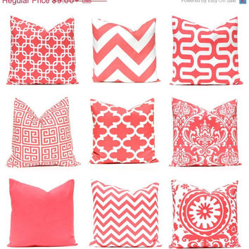 SALE Coral Throw Pillow Covers, Coral Nursery, Decorative Coral Pillow Covers 12 x 16 or 12 x 18 Beach Decor Coral Collection Mix and Match