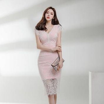 Oshangchaopin Women Fashion Summer OL Work Sheath Pencil Midi Dress Elegant V-Neck Lace Patchwork Slim Fitted Bodycon Dress