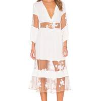 For Love & Lemons Eva Midi Dress in White