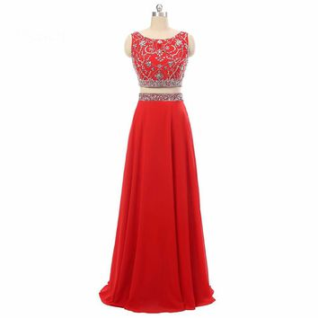 Formal Gowns Chiffon Beaded Red Two Piece Evening Dresses