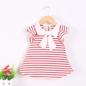 0-18M Baby Girl Dress Baby Girl Summer Cotton Striped Bow Dress Infant Clothing 1 Year Birthday Dress for Girls