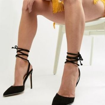 Public Desire Qween Black Studded Ankle Tie Heeled Shoes at asos.com