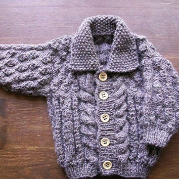 Heirloom Baby Cardigan 12-18mths and 18-24 mths Hand Knitted Aran