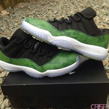 AIR JORDAN 11 LOW SNAKESKIN GREEN Basketball Shoes (528895033)