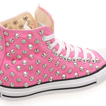 Studded Converse, Converse hi top with silver conical rivet studs by CUSTOMDUO on ETSY