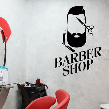 Vinyl Wall Decal Barber Shop Man Hairdresser Hair Salon Stylist Stickers Unique Gift (463ig)