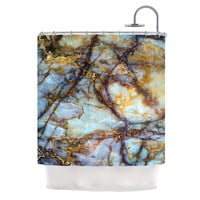 "KESS Original ""Opalized Marble"" Blue Brown Shower Curtain"