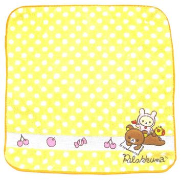 Yellow Polka Dotted Embroidered Rilakkuma Bear Handkerchief Face Towel | Japan