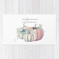welcome autumn orange pumpkin Rug by Sylvia Cook Photography