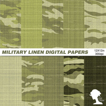 Digital Papers: INSTANT DOWNLOAD Military Camouflage Khaki Linen for Scrapbooking