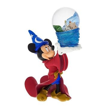 disney parks mickey mouse sorcerer four parks one world snow globe new
