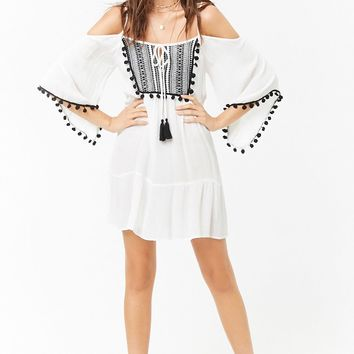 Sheer Tribal-Inspired Open-Shoulder Peasant Dress
