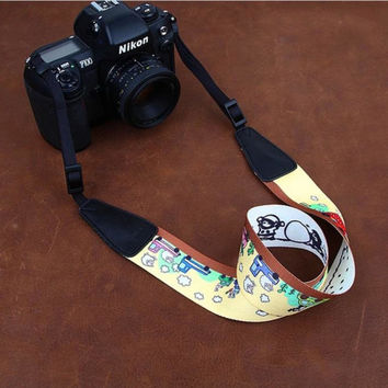 Cartoon Series Color DSLR Strap  Handmade Leather Camera Strap 8724