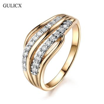 GULICX New Fashion Female Wedding Bands Jewelry Gold-Color Engagement Ring for Women CZ Stone Paved Promise Rings